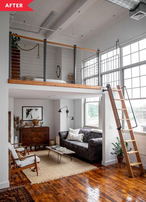 A Beautiful Studio Was Furnished on a Small Budget - - Photographer and stylist Erin Miles shares this lofted studio apartment with her boyfriend Alex. Tiny House Loft, Modern Tiny House, Small House Design, Tiny House Living, Tiny House Plans, Loft Home, Loft Style Homes, Cabin With Loft, Tiny House Luxury