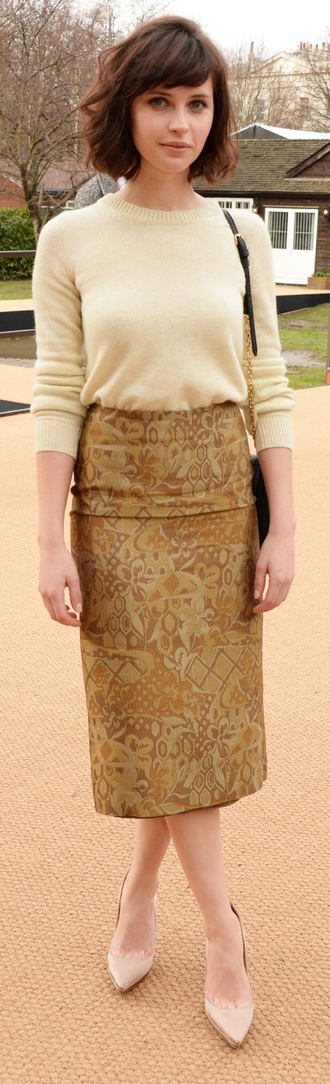 British actress Felicity Jones wearing Burberry at the Burberry Prorsum Womenswear A/W14 Show in London