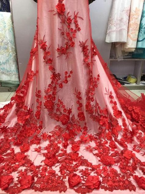3d red lace fabric, heavy embroidered tulle lace fabric