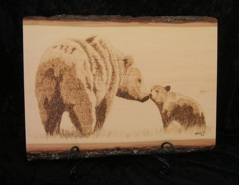 Woodburned Bear and Baby