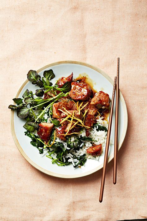Think of this as an elevated take on classic Chinese take-out. Cubes of pork tenderloin are quickly sautéed with ginger, orange marmalade, and fish sauce. It's a simple process that results in something truly delicious. #marthastewart #recipes #recipeideas #dinnerrecipes #dinnerideas #familydinner #watercressrecipes