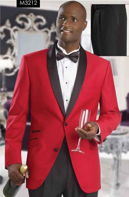 SKU#P-628N Red Tuxedo Jacket with Black Shawl Lapel & Black Trousers $185
