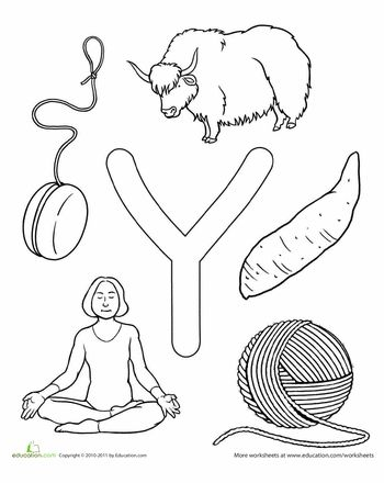 Y Is For Preschool Letters Alphabet Coloring Pages