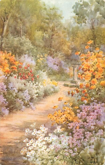 """""""All in a Garden Fair"""" by Hilda Bell, aka Hilda Lucy Bell English Artist whose works appeared on Raphael Tuck & Sons Postcards . Renaissance Kunst, Renaissance Paintings, Nature Aesthetic, Flower Aesthetic, Aesthetic Backgrounds, Aesthetic Wallpapers, Aesthetic Painting, Poster Prints, Art Prints"""