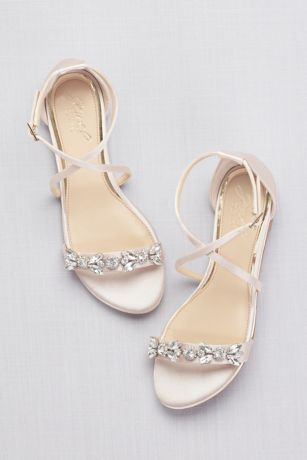 Satin And Crystal Cross Strap Flat Sandals David S Bridal Wedding Shoes Bridal Shoes Flats Bridal Sandals