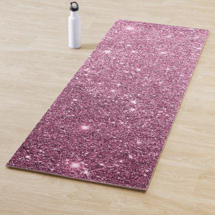 Elegant Burgundy Pink Abstract Girly Glitter Yoga Mat Yoga Mat Pink Abstract Yoga Mats Design