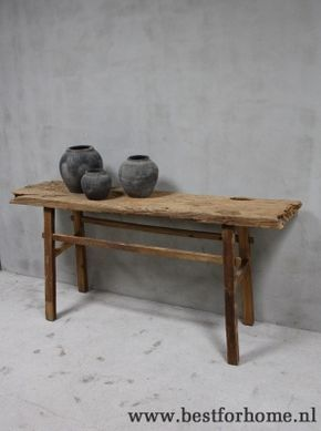 Oud Houten Side Table.Robuuste Landelijke Puur Oud Houten Sidetable Stoere Unieke