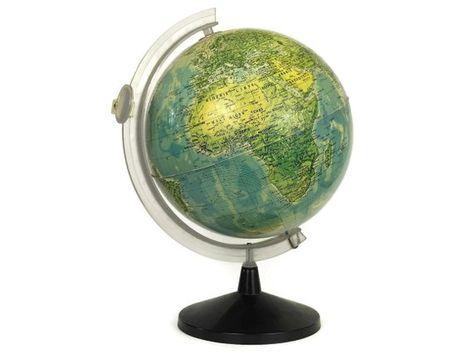 Vintage French World Globe Desk Lamp, Illuminated Earth Map