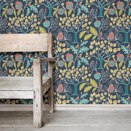 Nuwallpaper Groovy Garden Navy Peel Stick Wallpaper Walmart Com Peel And Stick Wallpaper Wallpaper Nuwallpaper