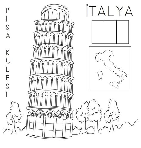 Ulke Kultur Yerler Konusunu Anlatirken Kullanmak Icin Burada Buldugum Pisa Kulesi Boyama Sayfasini Biraz Duzenledim Pisaku Italya Pisa Okul Oncesi