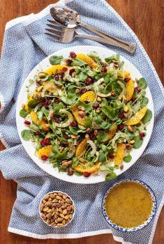 This Orange Fennel Watercress Salad with Lemon Ginger Poppyseed Dressing is a heavenly combination of fresh, beautiful, seasonal ingredients! #wintersalad, #citrussalad, #orangesalad, #watercresssalad, #easywintersalad, #orangefennelsalad #healthysalad