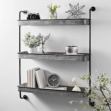 Galvanized Metal 3 Tier Wall Shelf