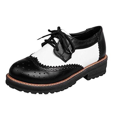 Carolbar Womens Comfort Low Heel Oxfords Boots