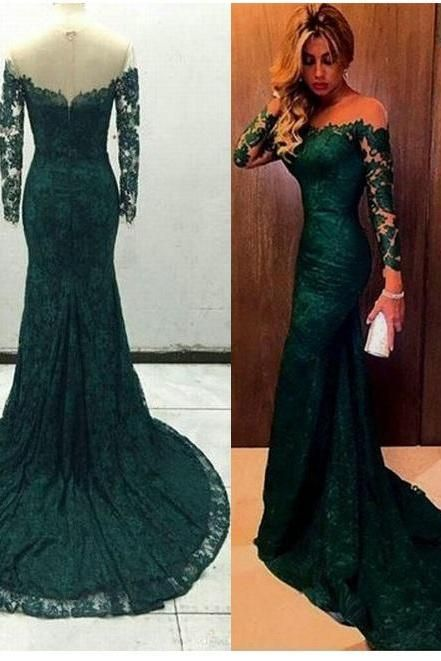 949c1dd101 Charming Mermaid Long Sleeves Dark Green Evening Dress