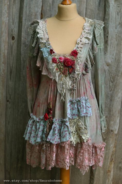 Boho Skirt Upcycled Full Wraparound Tattered Belly Dance Prairie Gypsy Rustic Bohemian Hippie Clothing Cowgirl Lace and Embroidery  One Size