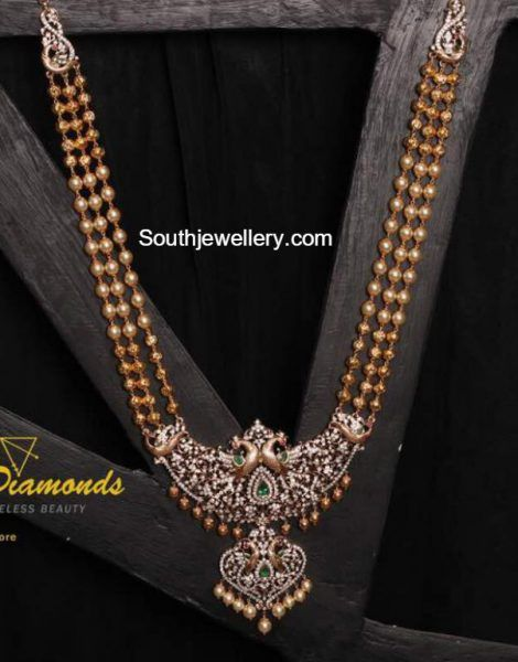 South Sea Pearls Mala with Peacock Diamond Pendant - Indian Jewellery Designs