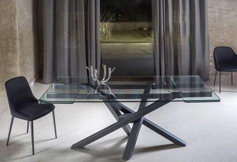 Tavolo Da Pranzo Allungabile Vetro.Tavolo Shangi Riflessi Piano Vetro Allungabile Tavolo