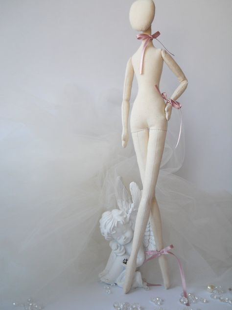 Blank Doll BODY is 17 inches (42 cm) tall .  Fabric doll body is made of white cotton and linen and it is filled with hypo-allergenic polyester fiberfill.  These pre-made doll bodies are perfect if you wish to make the art doll but dont have the time to make the body. The blank doll