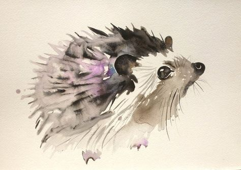 Custom animal, animal portrait original painting watercolors gouache ink art hedgehoh squirrel chris