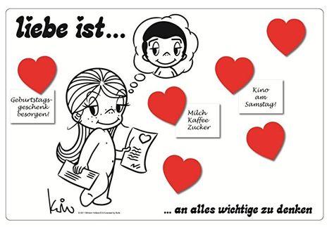 Liebe ist ... an alles wichtige zu denken - Magnettafel mit 4 Herz-Magneten - Memoboard Pinnwand