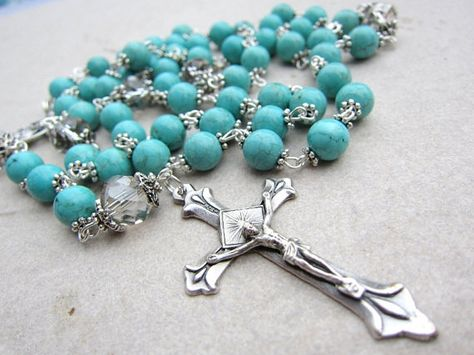 Blue Turquoise Rosary Beads with Crystal and Silver on Etsy, $52.99