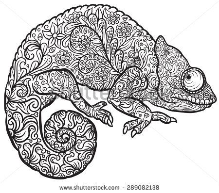 Zentangle Stylized Multi Coloured Chameleon Hand Drawn Reptile Vector Illustration In Doodle Style For Tattoo Or Print