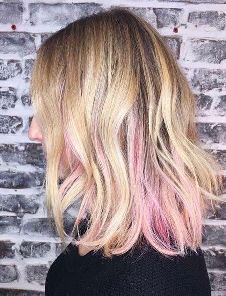 Blonde Hair Pink Highlights In 2020 Pink Blonde Hair Peekaboo Hair Pink Peekaboo Hair