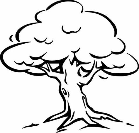 Black And White Tree Clipart Best Dereva Tree Coloring Page