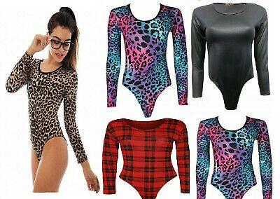 Ladies PVC Wet Look Bodysuit Womens Long Sleeve Plain Stretchy Leotard Tops 8-26