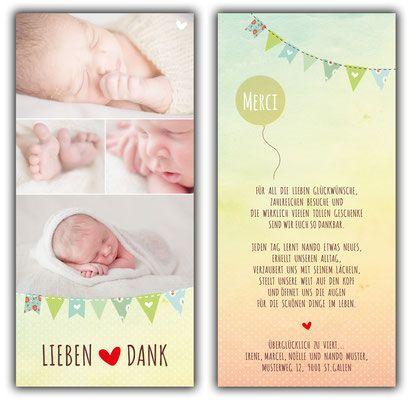 Nando Dankeskarte 100x210 Mm Karte Auch In Den Farben Der Karte Manon Erhaltlich Danksagung Geburt Baby Dankeskarten Geburtskarten