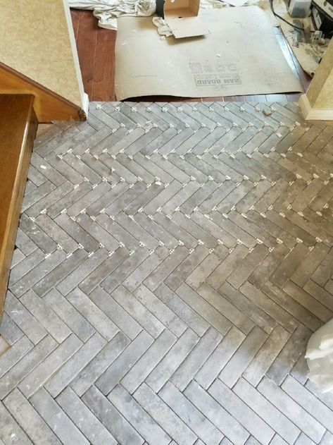 tile flooring Entry Progress: Herringbone Brick Tile Floors House For Six Brick Tile Floor, Ceramic Floor Tiles, Brick Flooring, Bathroom Floor Tiles, Flooring Tiles, Entryway Flooring, Living Room Flooring, Kitchen Flooring, Tile Entryway