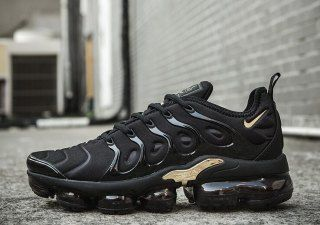 Nike Air VaporMax Plus TN Black Gold Sneakers Women's Men's ...