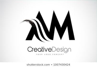 Am A M Creative Modern Black Letters Logo Design With Brush Swoosh