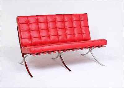 Swell Mies Style Exhibition Loveseat Premium Red Leather In Unemploymentrelief Wooden Chair Designs For Living Room Unemploymentrelieforg