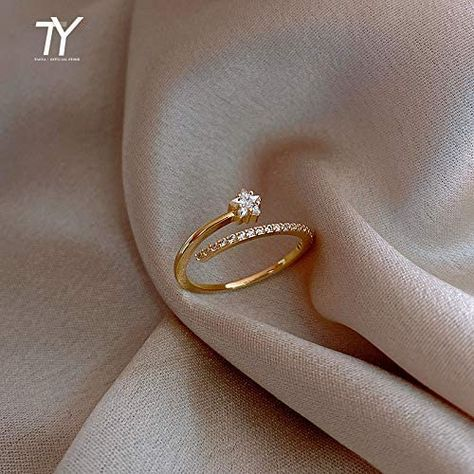 Amazon.com: queenfoot Ladies Ring Minimalist Exquisite Zircon Gold Star Opening Rings for Woman Fashion Korean Jewelry Luxury Wedding Party Unusual Girl's Rings juneNB (Color : Gold-Color, Size : Resizable): Home & Kitchen