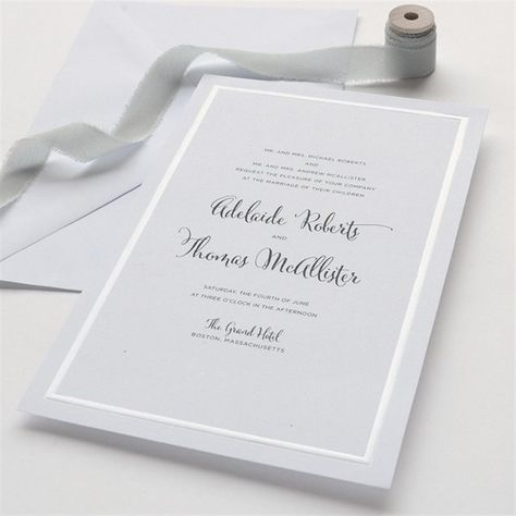 Simple White Pearl Border Wedding Invitation Kit