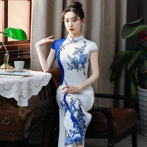 チャイナドレス ドレス チャイナ風服 ロング丈 エレガント 綺麗め パーティー 二次会 女子会 スタンドネック 半袖 ロング丈 大きいサイズ S M L LL 3L 4L ホワイト白い 花柄 | elegant