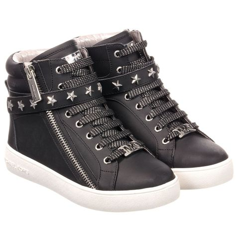 d33769c0c7d4 Michael Kors Black Leather High-Top Trainers. Shop from an exclusive  selection of designer Shoes