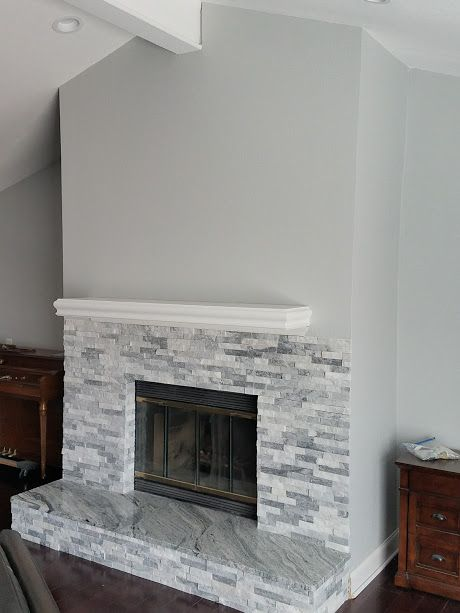 Grey And White Stacked Stone Fireplace Stacked Stone Fireplaces