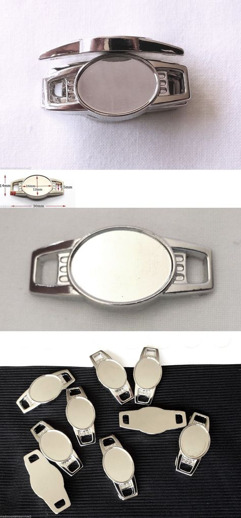 100 X Blank Silver Oval Shoelace Paracord Charm 12 x 16mm w// Clear Epoxy Sticker