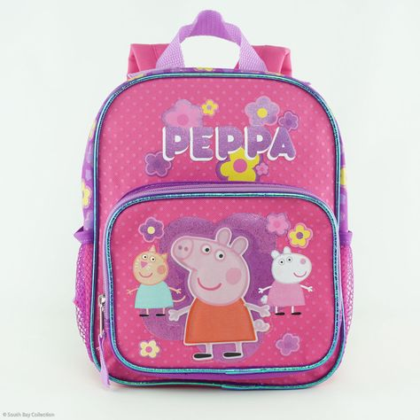 "Pig Shine 16/"" Large Pink Hop Game School Backpack Bookbag Children Peppa Pig"
