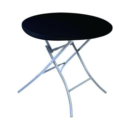Lifetime 33 In Black Plastic Portable Folding Bar Table Round