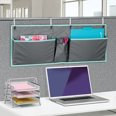 Mdesign Wide Cubicle Fabric Hanging Home Office Desk Organizer