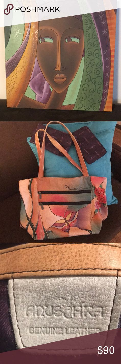 Anuschka Tote, hand painted, 2 pouches. Very gently used, original, can edc69eb93c