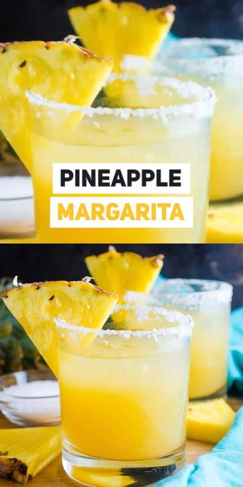 A Pineapple Margarita just screams tropical vacation and you'll be transported to your happy place when you make our super easy and super delicious recipe! Thanksgiving Drinks, Holiday Drinks, Summer Drinks, Thanksgiving Meaning, Beach Drinks, Thanksgiving Turkey, Thanksgiving Decorations, Pineapple Drinks, Pineapple Margarita