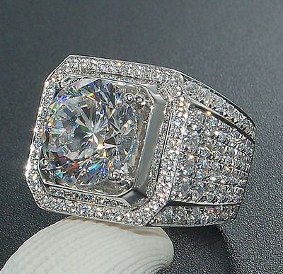 Women 925 Silver Jewelry White Topaz Wedding Engagement Gift Ring Size 6-10