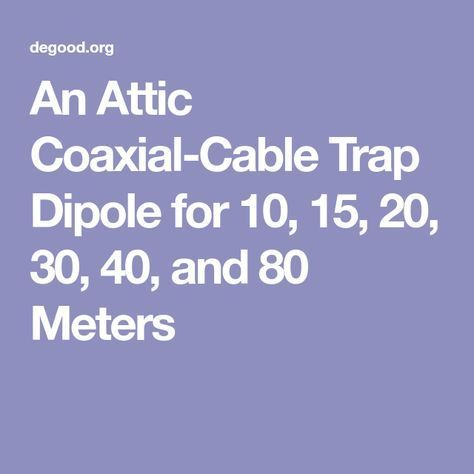 An Attic Coaxial Cable Trap Dipole For 10 15 20 30 40 And 80 Meters Ham Radio Antenna Ham Radio Radio Antenna