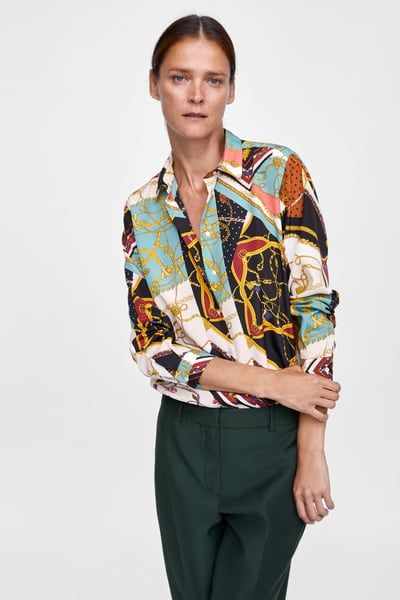 Image 2 of PATCHWORK CHAIN PRINT BLOUSE from Zara