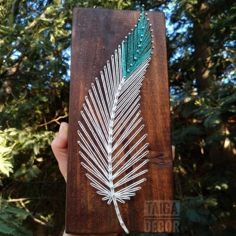 Feather string art on wood tribal boho minimalist decor - Indian southwest style feather sign decor