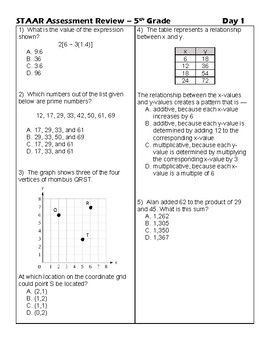5th Grade Math Countdown To Staar 20 Days Of Review Of Teks Standards 5th Grade Math Staar Math 5th Grades
